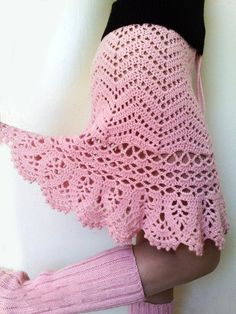 Pink crocheted skirt with pattern. Would love to make this in white.