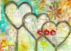 Triple art journal page by Robes-Pierre, via Flickr