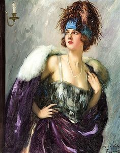 Lady in a Fur Coat - Counted cross stitch pattern in PDF format by Maxispatterns on Etsy