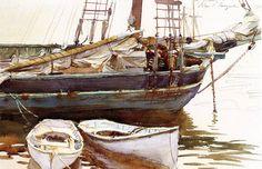 """John Singer Sargent - Schooner, """"Catherin""""e, Somesville, Maine. ca. 1920/25"""