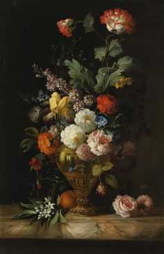 by the painter Jacob Bogdani, - A Still Life of Roses and other Flowers in a Metal Vase on a Marble Ledge
