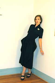 Vintage Couture Black Dress Late 30s Early 40s by posiesforlulu, $425.00