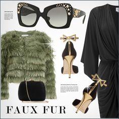 Fabulous by smartbuyglasses on Polyvore featuring MISA Los Angeles, Alice + Olivia, Oscar de la Renta, Serpui, Versace, gold, black, GREEN and fauxfurcoats