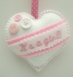 New Baby Gift - Embroidered Felt Heart