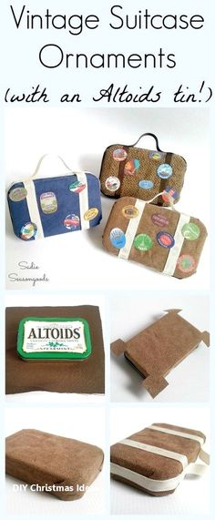 repurposed DIY vintage suitcase luggage Christmas ornaments with a repurposed and upcycled . DIY vintage suitcase luggage Christmas ornaments with a repurposed and upcycled Altoids tin by Sadie Seasongoods / www. Diy Projects Vintage, Diy Vintage, Photo Christmas Ornaments, Spode Christmas Tree, Diy Ornaments, Christmas Travel, Christmas Crafts, Christmas Ideas, Christmas 2019