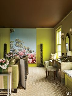 Architect Alison Spear marries classic grace with modern flair at her husband's ancestral home in upstate New York. A Jack Pierson painting blooms at the opposite end of the master suite | archdigest.com