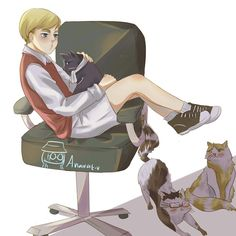 Look at his expression. Omg so cute ❤❤❤ The cat is Levi, Hanji and Mike.