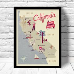 California  Map Personalized Family name by ConsiderGraphics, $16.00 (See if they can add Pasadena)