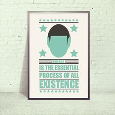 Spock A3 inspirational quote prints Retro Posters by angelaferrara, $18.00