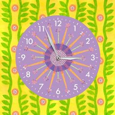 """Paper Flowers - Single"" - Canvas Wall Clock from Oopsy daisy, Fine Art for Kids"