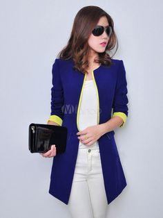 Beau blazer féminin synthétique bicolore col ras du cou ouverture à 34.15€ - Milanoo.com