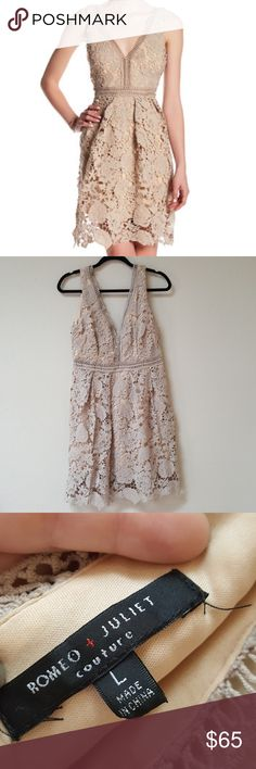 [Romeo + Juliet] Tan Crochet Lace Dress Very sexy crochet/lace dress in good used condition. Only worn once for a wedding.   Open to offers! Bundle and save 20%! Romeo & Juliet Couture Dresses