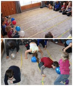 Balloon Push-  This game was a bit of a work in progress. It started out as blowing the balloons with a straw but it was too hard to keep them in their own lane, so it switched to pushing them with their heads. Each team gets a balloon, one person has to push the balloon down the lane using only their head, when they reach the end then the next person goes.  Supplies- Balloons, Masking or painters tape for making lanes.