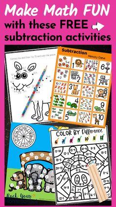 Fun Math, Math Games, Maths, Subtraction Activities, Math Activities, Homeschool Math, Homeschooling, Counting For Kids, Adult Adhd