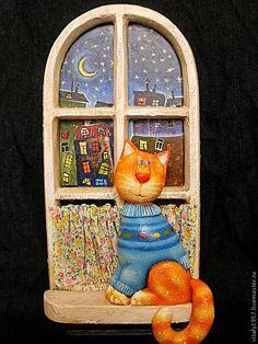 Купить или заказать Пано ' Старое окно '. Кот . Дерево. Ручная роспись в интернет-магазине на Ярмарке Мастеров. Мой кот Тимошка обожает жить на подоконнике,он бы там и кушать обожал-только не дают. Кот и окно вырезаны из дерева ,расписаны руками,кисточкой и акрилом и покрыты лаком.Шторки на окне сшиты из ситца.Ночной город за окном нарисован вручную художественным акрилом. Авторская работа . Пересылка включена в стои…