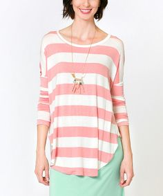 Look at this Sawyer Cove Pink & White Stripe Tunic on #zulily today!