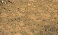 "This photo taken on Aug. 12, 2014 by NASA's Curiosity Mars rover shows an outcrop that includes the ""Bonanza King"" rock under consideration as a drilling target. Credit: NASA/JPL-Caltech/MSSS"