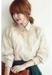 J74355 Lapel Lace Splicing Long Sleeve Shirt