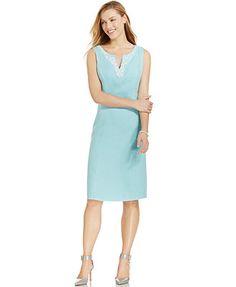 Charter Club Beaded Linen Sheath Dress