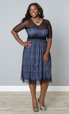 #plussize#Vintage Dream Cocktail Dress - Pretty Periwinkle / Black at…