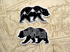 1 Bear Gloss Vinyl Sticker, Travel, Wander, Mountains, Wanderlust, Adventure, Illustration, Quote, Stars, Travel Gift, Laptop, Cute stickers - £2.00