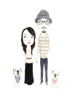 CUSTOM WATERCOLOR PORTRAIT  couple by poppopportraits on Etsy, $145.00