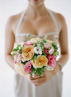 Pink,peach,white brides bouquet