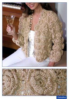 AS RECEITAS DE CROCHÊ: Casaco bege de crochê com rosetas