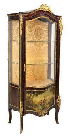 Napoleon III style mahogany painted vernis martin vitrine cabinet with bronze mounts