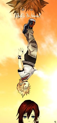 The scene where Roxas falls off the Station Tower in Kingdom Hearts 2  'Please! A name!' 'I'm Roxas.' 'Okay, Roxas. But can you tell me his name?' 'You don't remember my name? Thanks a lot, Kairi! I guess I can give you a hint... starts with an 'S'.'