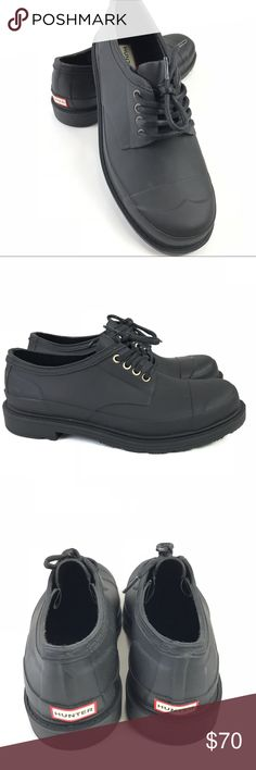 Hunter Original Derby Rain Shoes Lace Up Matte Hunter Original Derby Rain Shoes Womens US 10 UK 8 Lace Up Black Matte Rubber  Condition: New without Box Partial Nordstrom Rack Sticker on Sole Some Minor Shelf Wear with Scratching on Heel  Retail Price $180 Hunter Boots Shoes