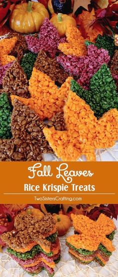 These beautiful Fall Leaves Rice Krispie Treats are delicious, easy to make and perfect for a Thanksgiving Treat or an Autumn potluck dessert. Who wouldn't want a colorful Rice Krispie Treat Maple Leaf as a Thanksgiving Dessert? Pin this yummy Fall Treat and follow us for more great Thanksgiving Food Ideas.
