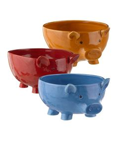 This Pig Bowl Set by Grasslands Road is perfect! #zulilyfinds