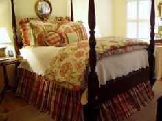 A Princess and the Pea Master Bedroom Master Bedroom Renovation with Bed and Plaid, Moire Bed Linens Yellow Master Bedroom, Bedding Master Bedroom, Bedroom Red, Pretty Bedroom, Cozy Bedroom, Dream Bedroom, Diy Bedroom Decor, Home Decor, Bedroom Ideas