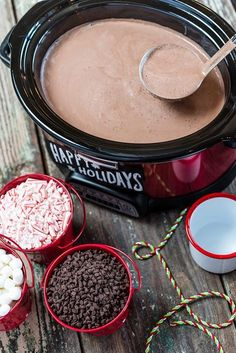 hot chocolate bar Snuggle up with Slow Cooker Hot Chocolate Crockpot Hot Chocolate, Hot Chocolate Bars, Hot Chocolate Recipes, Chocolate Making, Mexican Hot Chocolate, Chocolate Food, Hot Chocolate Crock Pot Recipe, Crockpot Hot Cocoa Recipe, Crockpot Drinks