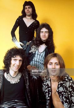 Guitarist Brian May, singer Freddie Mercury (1946 - 1991), bassist John Deacon and drummer Roger Taylor of British rock band Queen pose in London, England in 1973.