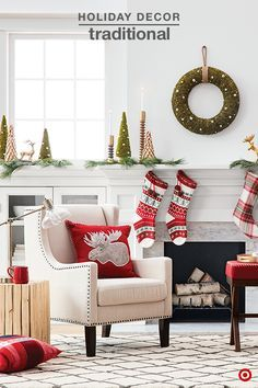 Add warmth and cheer to your home this holiday season with festive decor. The traditional red and green palette easily ties the room together, and will get you in the holiday spirit. Start with the mantle. It's the focal point in any room, and the perfect place to make a statement. Fresh greenery, a mix of textures and finishes make it uniquely yours. Then add pops of bold color with accent pillows, and of course the Christmas stockings. Fair Isle? Yes, please!