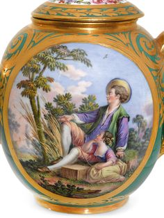 A Sèvres green-ground Déjeuner, circa 1775  finely painted by Charles-Nicolas Dodin with scenes of rustic figures in arcadian landscapes, reserved on a green ground highlighted with rich tooled gilt foliate scroll bands at the rims, comprising a quatrefoil tray with ribbon tied handles (perhaps plateau 'á baguettes' or plateau 'ovale polylobé')