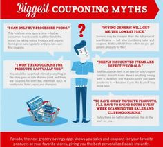 Biggest couponing myths- I love the one about coupons are only for junk food. You can find a lot of great natural and organic coupons now.