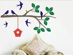 Items similar to Tree Branch Wall Decal with Birds and Birdhouse Wall Sticker Bird Decal Flying Bird Bird House Leaves Leaf Bedroom Decor Living Room Nursery on Etsy Wall Stickers Birds, Bird Tree, Bedroom Decor, Kids Bedroom, Bedroom Ideas, Vinyl Wall Decals, Textured Walls, Tree Branches, Bird Houses