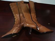 New Italian Caravelle Victorian Style Light Brown Leather Lace-up Boots sz 38.5