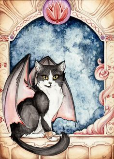Dragon Winged Cat by ~daydreamer-art