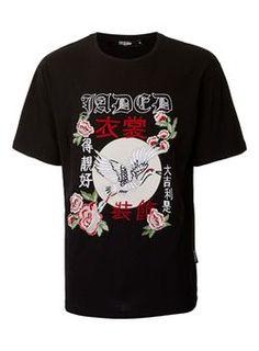 JADED Black Flower Print Silky Feel T-Shirt*