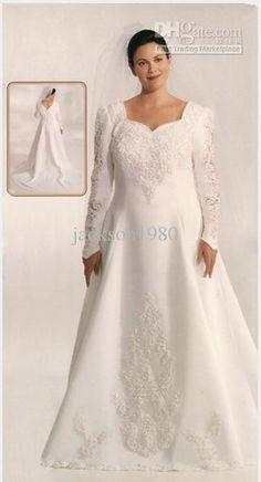 Wholesale 2013Vintage A-Line Pearl V Neckline Lace Applique Beaded Satin Long Sleeve Plus Size Wedding Dresses, $161.28-175.28/Piece | DHgate