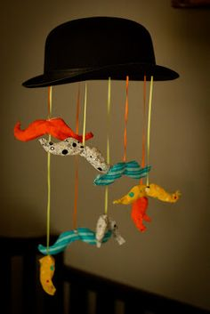 Mustache and Bowler hat baby mobile DIY This would be perfect if I ever have a baby boy. Mustache Nursery, Mustache Party, Nursery Inspiration, Baby Boy Nurseries, Baby Decor, Diy Projects To Try, Baby Hats, Baby Love, Diy Gifts