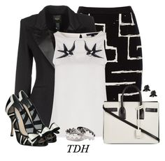 """""""Black & White"""" by talvadh ❤ liked on Polyvore featuring Jaeger, Smythe, Sugarhill Boutique, Yves Saint Laurent, Dune, Fernando Jorge and Eddie Borgo"""