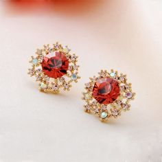 Gold Plated Flowers Stud Earrings Made with Swaroski Elements Crystal