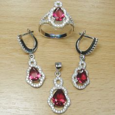 Micro Setting Pear Cut Pink White CZ 925 Sterling Silver Jewelry Set