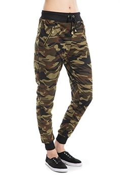 d64971a961585 Woman Camouflage Zipper detail pants Army Waistband Jogger Pants 2  sizesLargeXLarge Olive     Continue