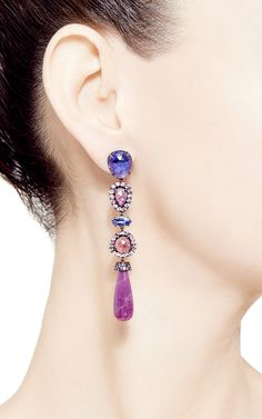 Signature Long Pear Earrings With Rubies Drops, Tanzanite Slices And Marquis And Pink Sapphire Slices by Shawn Ames for Preorder on Moda Operandi